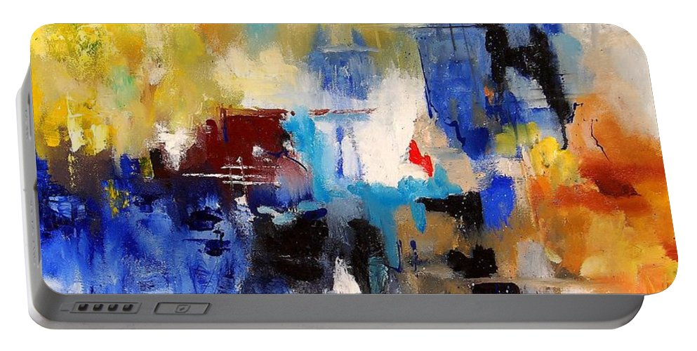 Abstract Portable Battery Charger featuring the painting Abstract 69070 by Pol Ledent