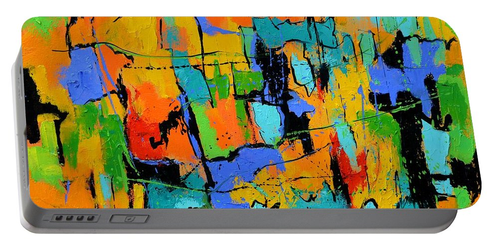Abstract Portable Battery Charger featuring the painting Abstract 7761701 by Pol Ledent