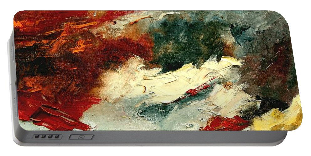 Abstract Portable Battery Charger featuring the painting Abstract 9 by Pol Ledent