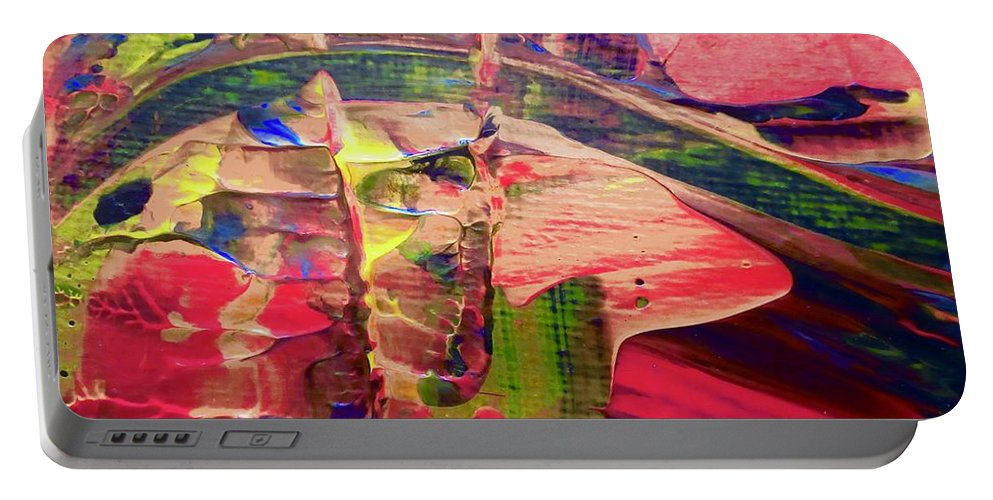 Red Portable Battery Charger featuring the painting Abstract 9096 by Stephanie Moore