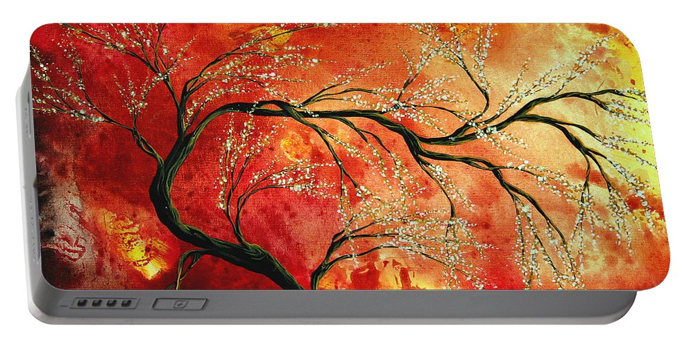 Abstract Portable Battery Charger featuring the painting Abstract Art Floral Tree Landscape Painting Fresh Blossoms By Madart by Megan Duncanson