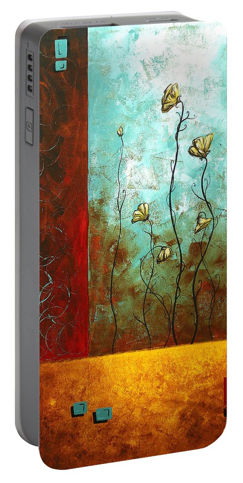 Abstract Portable Battery Charger featuring the painting Abstract Art Original Poppy Flower Painting Subtle Changes By Madart by Megan Duncanson