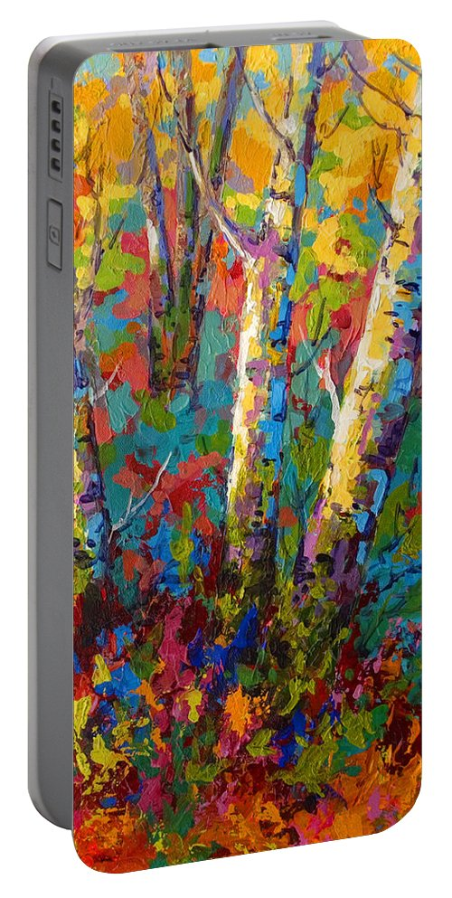 Trees Portable Battery Charger featuring the painting Abstract Autumn II by Marion Rose