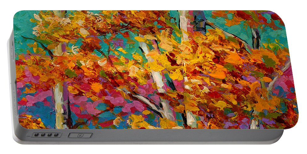 Trees Portable Battery Charger featuring the painting Abstract Autumn IIi by Marion Rose