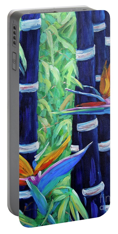 Art Portable Battery Charger featuring the painting Abstract Bamboo And Birds Of Paradise 04 by Richard T Pranke