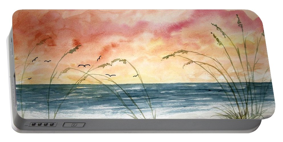 Abstract Portable Battery Charger featuring the painting Abstract Beach Painting by Derek Mccrea