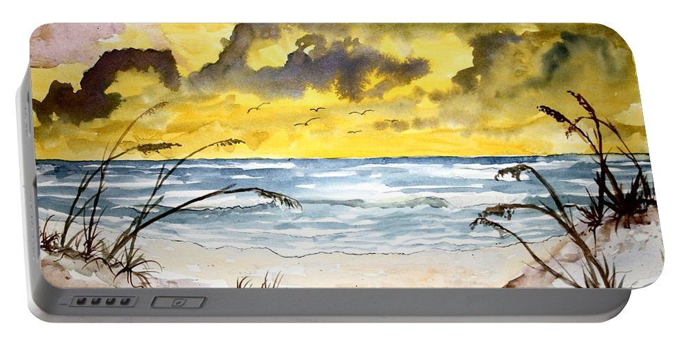 Beach Portable Battery Charger featuring the painting Abstract beach sand dunes by Derek Mccrea