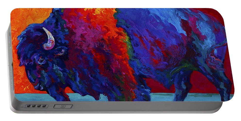Bison Portable Battery Charger featuring the painting Abstract Bison by Marion Rose