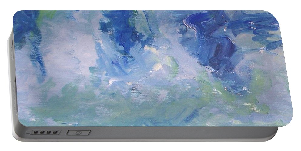 Abstract Portable Battery Charger featuring the painting Abstract Blue Reflection by Eric Schiabor