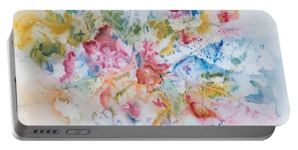 Abstract Portable Battery Charger featuring the painting Abstract Bouquet by Judith Maculan