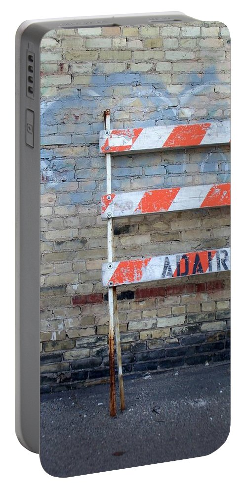 Industrial Portable Battery Charger featuring the photograph Abstract Brick 1 by Anita Burgermeister
