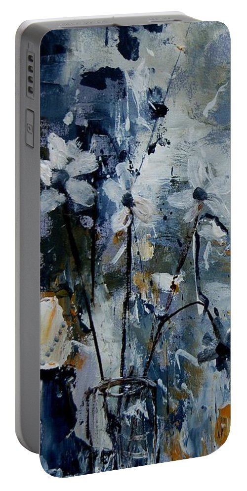 Abstract Portable Battery Charger featuring the painting Abstract Bunch Of Flowers by Pol Ledent