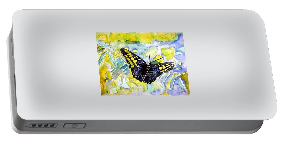 Abstract Portable Battery Charger featuring the painting Abstract Butterfly by Derek Mccrea