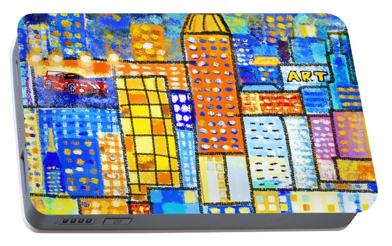 Abstract Portable Battery Charger featuring the painting Abstract City by Setsiri Silapasuwanchai