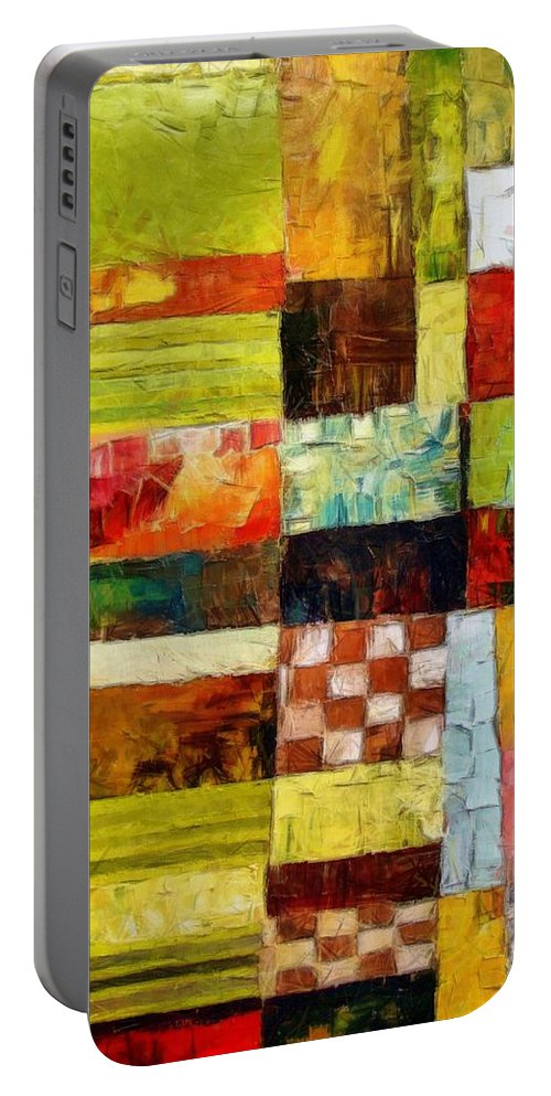 Patchwork Portable Battery Charger featuring the painting Abstract Color Study With Checkerboard And Stripes by Michelle Calkins