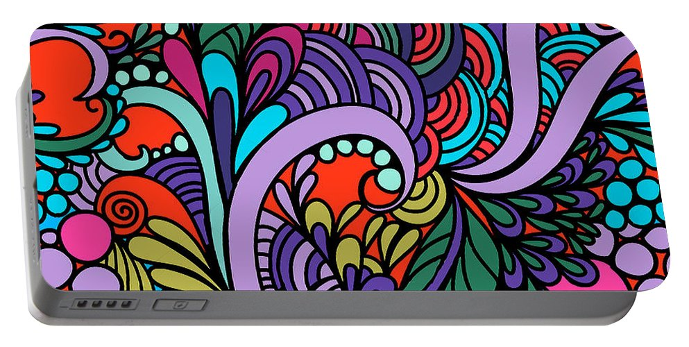 Bright Portable Battery Charger featuring the digital art Abstract Colorful Floral Design by Long Shot