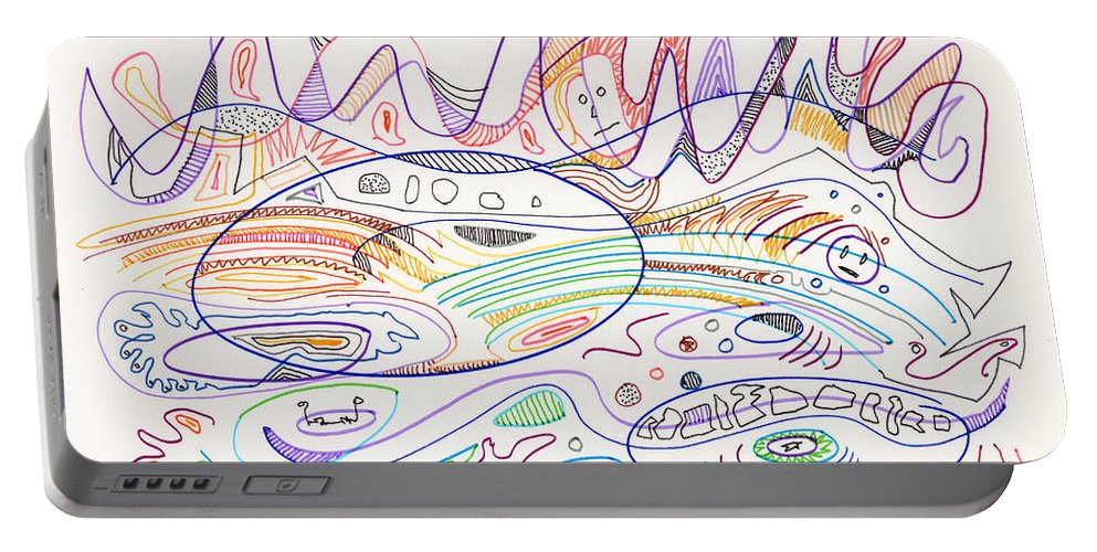Abstract Portable Battery Charger featuring the drawing Abstract Drawing Nineteen by Lynne Taetzsch