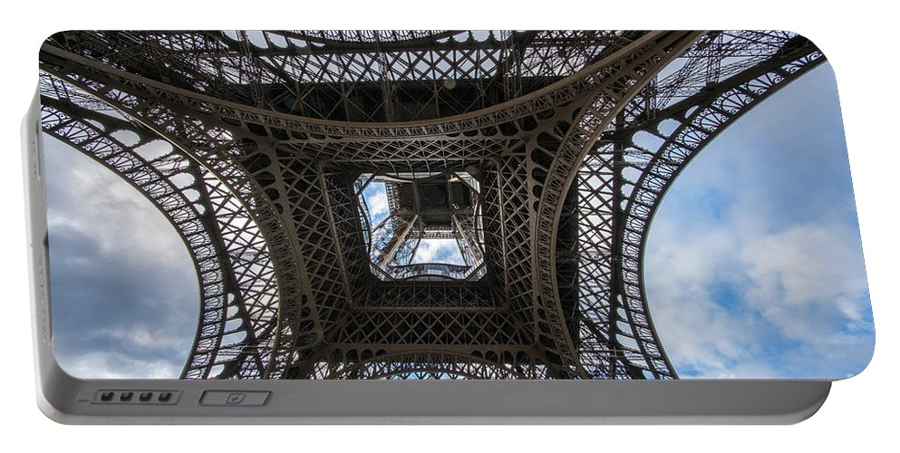 Paris Portable Battery Charger featuring the photograph Abstract Eiffel Tower Looking Up by Mike Reid