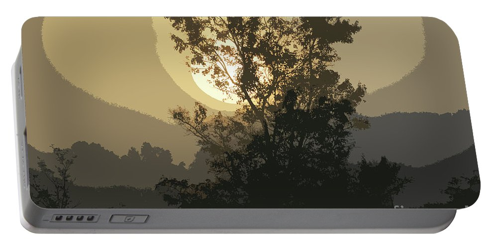 Sunrise Portable Battery Charger featuring the photograph Abstract Foggy Sunrise by Maggie Cersosimo