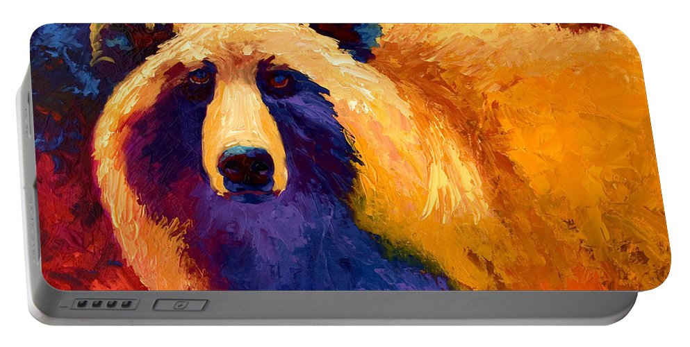 Western Portable Battery Charger featuring the painting Abstract Grizz II by Marion Rose
