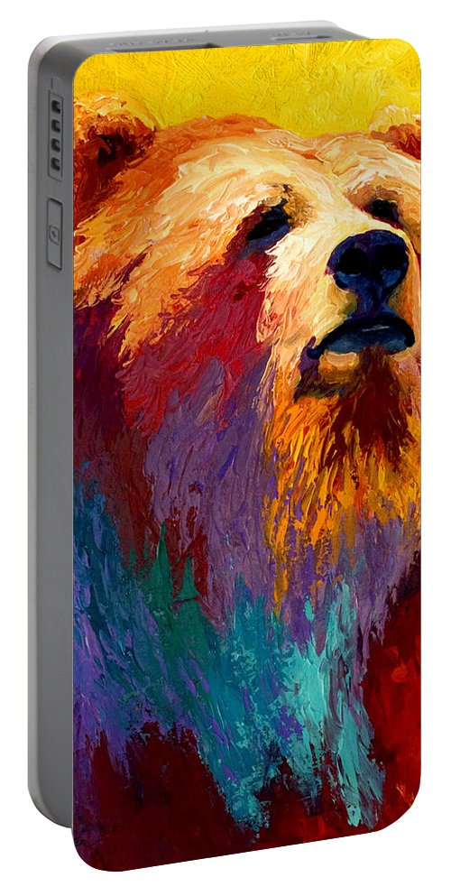 Western Portable Battery Charger featuring the painting Abstract Grizz by Marion Rose