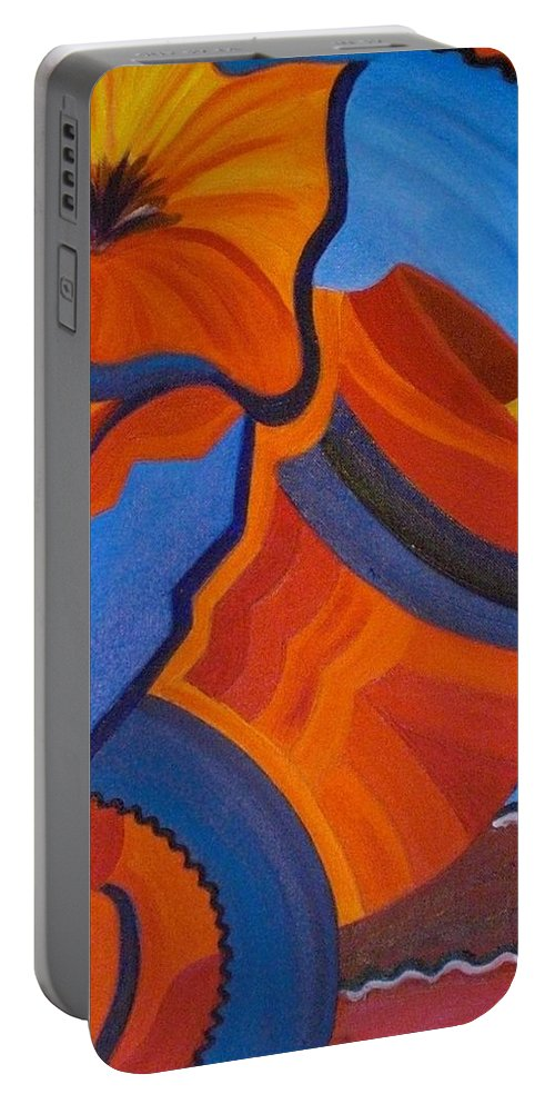Orange Portable Battery Charger featuring the painting Abstract In Orange And Blue by Nancy Sisco