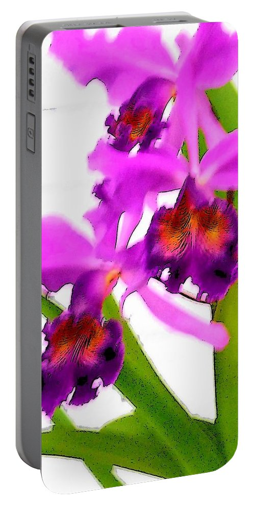 Flowers Portable Battery Charger featuring the digital art Abstract Iris by Anita Burgermeister
