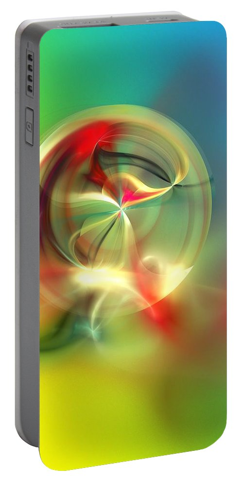 Fine Art Portable Battery Charger featuring the digital art Abstract Karma Wheel by David Lane