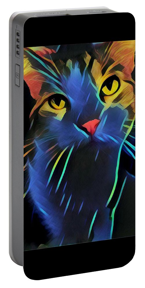 Abstract Cat Portable Battery Charger featuring the photograph Abstract Kitty by The Follmers