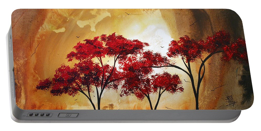Abstract Portable Battery Charger featuring the painting Abstract Landscape Painting Empty Nest 2 By Madart by Megan Duncanson