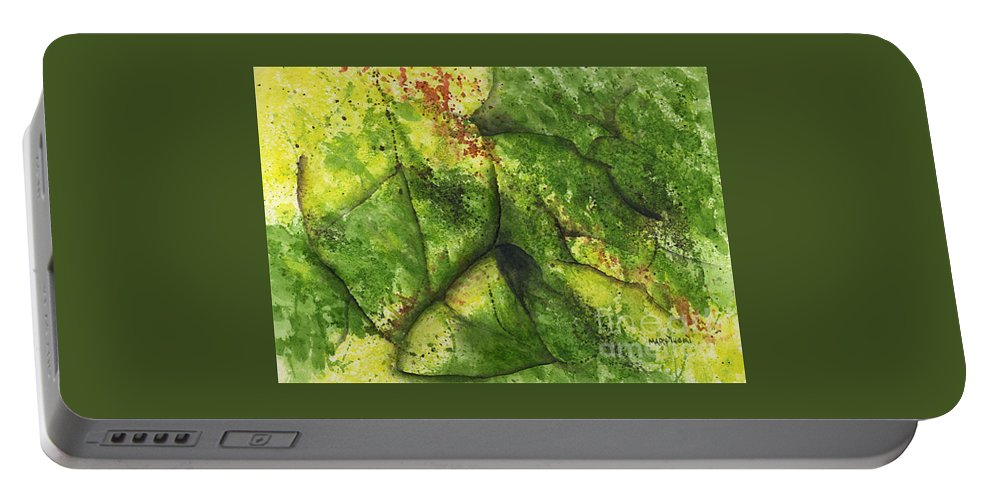 Leaves Portable Battery Charger featuring the painting Abstract Leaf by Mary Tuomi