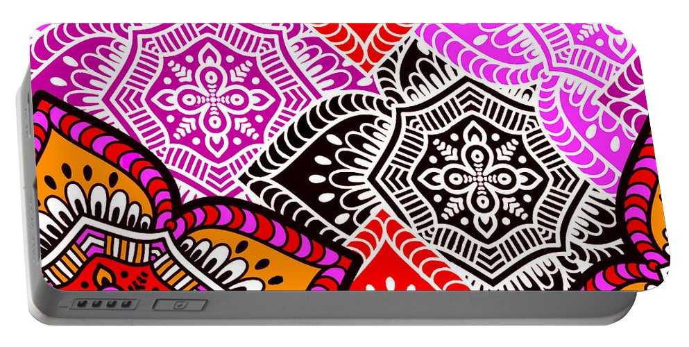 Arabesque Portable Battery Charger featuring the digital art Abstract Mandala Floral Design by Long Shot