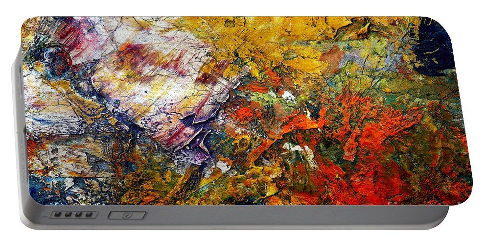 Abstract Portable Battery Charger featuring the painting Abstract by Michal Boubin