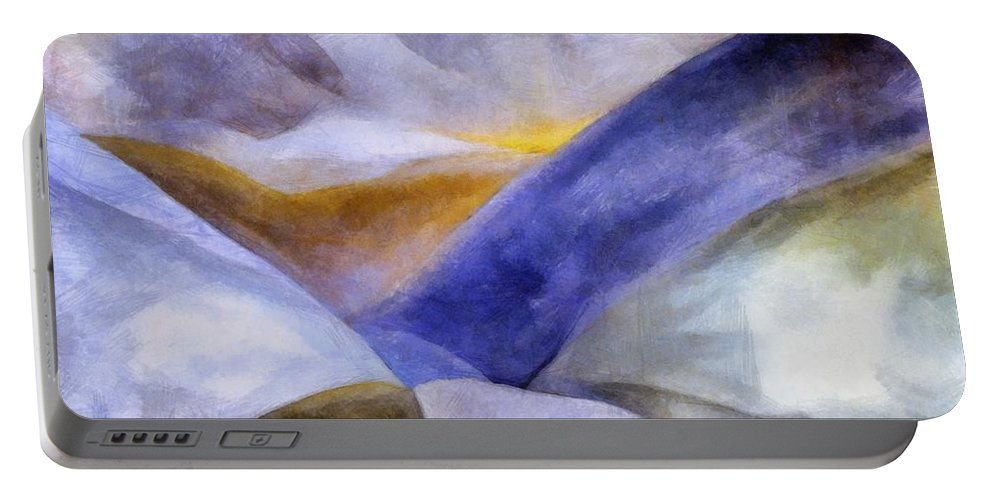 Blue Portable Battery Charger featuring the painting Abstract Mountain Landscape by Michelle Calkins