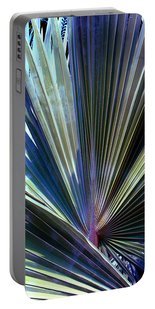 Palm Leaf Portable Battery Charger featuring the photograph Abstract Palm Leaf by Susanne Van Hulst