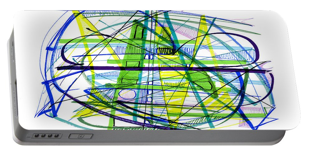 Abstract Portable Battery Charger featuring the drawing Abstract Pen Drawing Thirty by Lynne Taetzsch