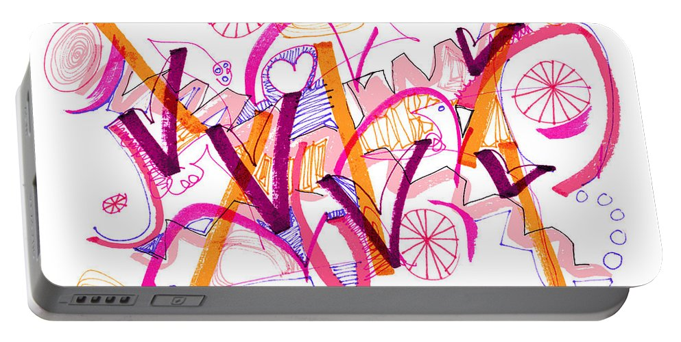Abstract Portable Battery Charger featuring the drawing Abstract Pen Drawing Twenty-six by Lynne Taetzsch