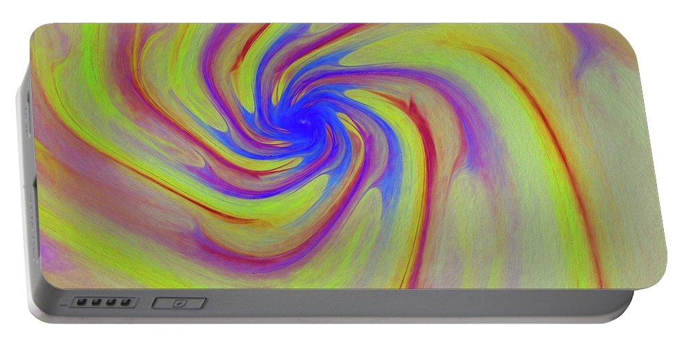 Abstract Portable Battery Charger featuring the digital art Abstract Pinwheel by Deborah Benoit
