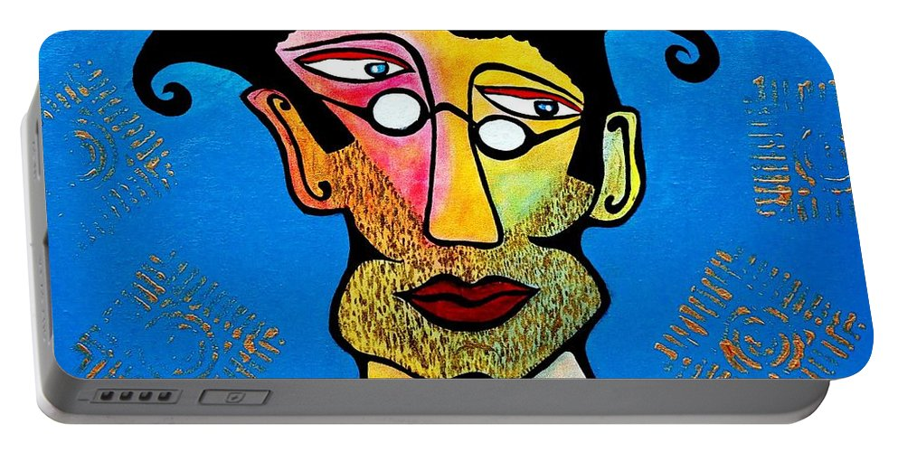 Painting Portable Battery Charger featuring the painting Abstract Professor by Davids Digits