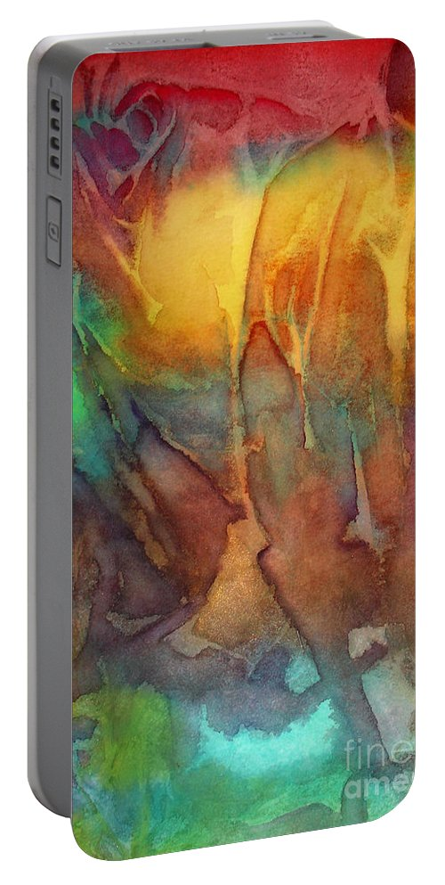 Abstract Portable Battery Charger featuring the painting Abstract Reflection by Allison Ashton