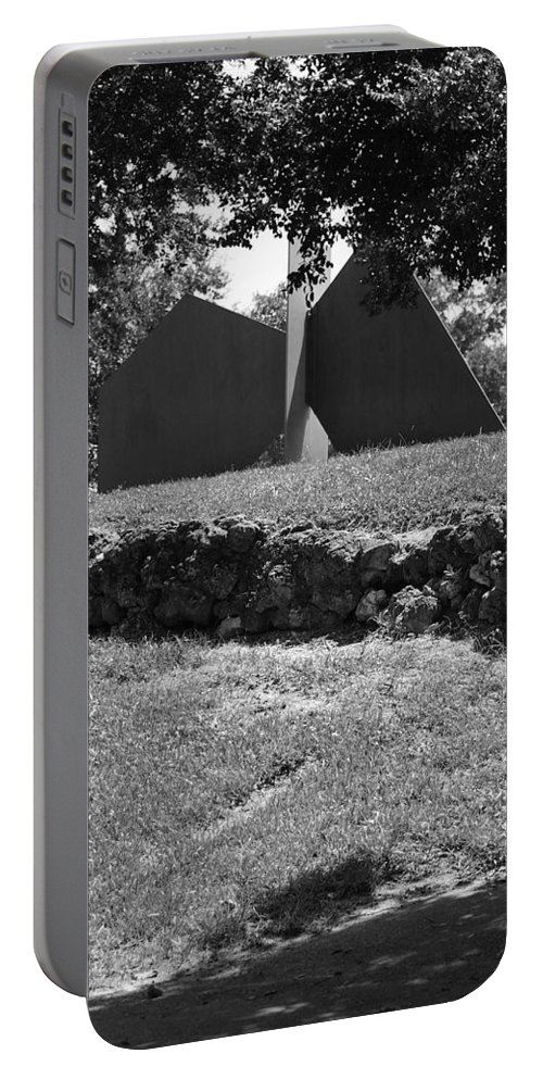 Black And White Portable Battery Charger featuring the photograph Abstract Sculpture by Rob Hans