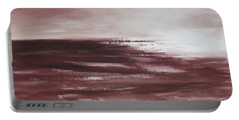 Abstract Portable Battery Charger featuring the painting Abstract Sunset In Brown Reds by Gina De Gorna