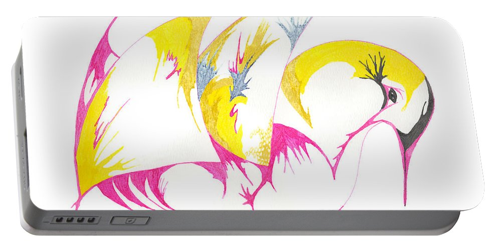 Abstract Portable Battery Charger featuring the drawing Abstract Swan by Mary Mikawoz