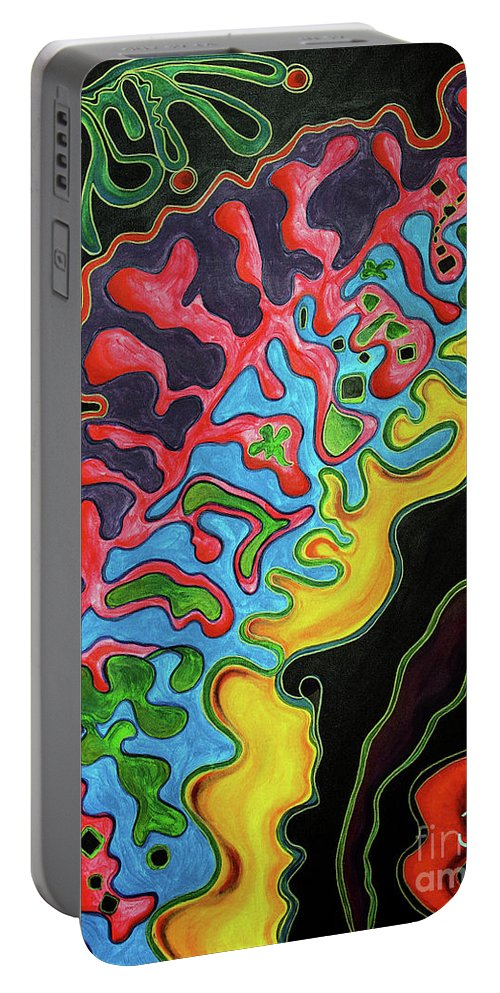 Multicoloured Portable Battery Charger featuring the painting Abstract Thought by Jolanta Anna Karolska