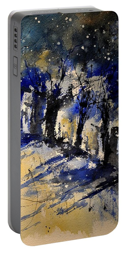 Abstract Portable Battery Charger featuring the painting Abstract Trees by Pol Ledent