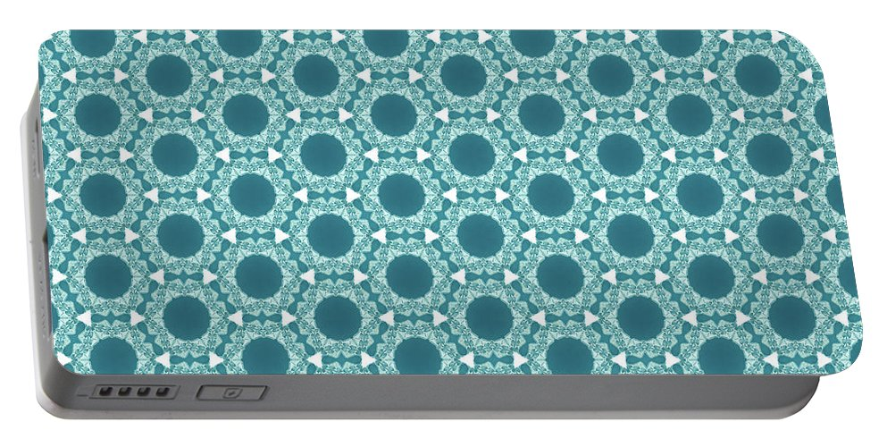Pattern Portable Battery Charger featuring the digital art Abstract Turquoise Pattern 2 by Alisha at AlishaDawnCreations