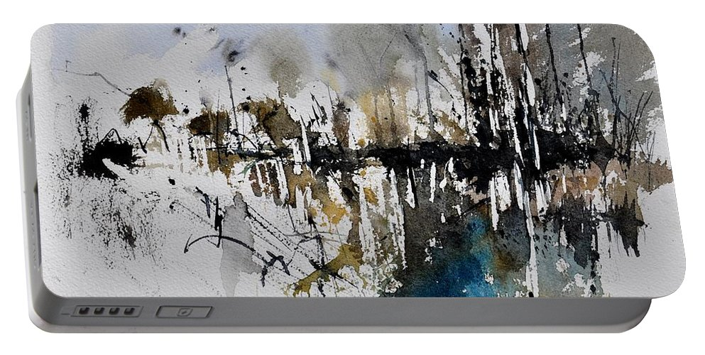 Abstract Portable Battery Charger featuring the painting Abstract Watercolor 012130 by Pol Ledent