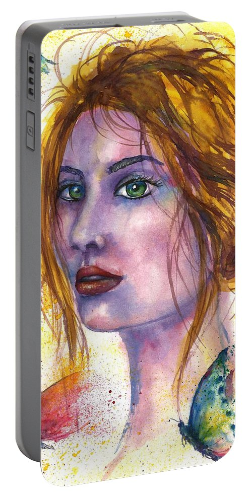 Women Face Portable Battery Charger featuring the painting Abstract women face by Natalja Picugina