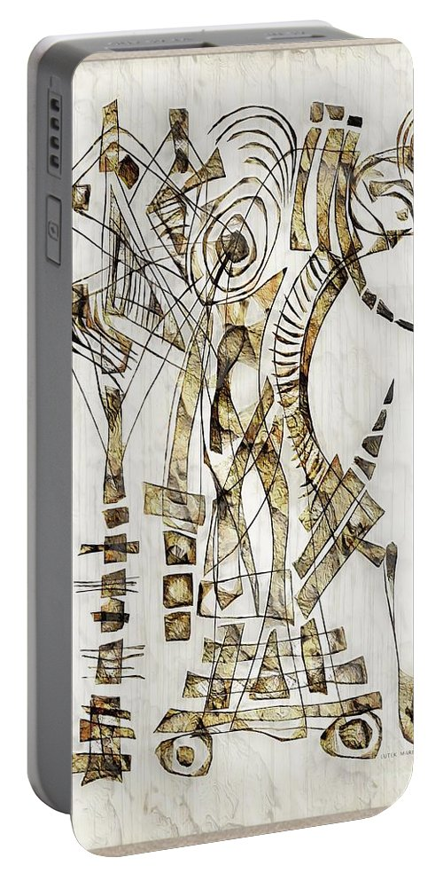 Abstraction Portable Battery Charger featuring the digital art Abstraction 2562 by Marek Lutek