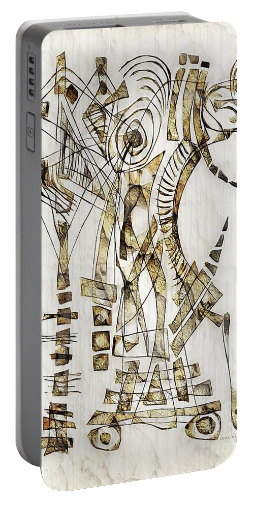 Abstraction Portable Battery Charger featuring the digital art Abstraction 2563 by Marek Lutek